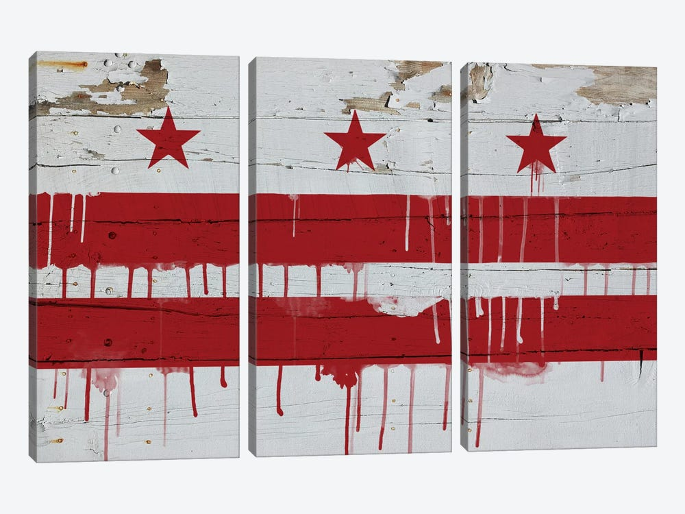 Washington, D.C. Paint Drip City Flag on Wood Planks by iCanvas 3-piece Canvas Print