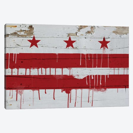 Washington, D.C. Paint Drip City Flag on Wood Planks Canvas Print #FLG493} by iCanvas Canvas Art Print