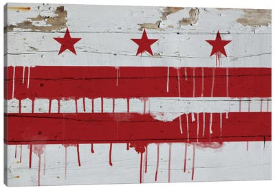 Washington, D.C. Paint Drip City Flag on Wood Planks Canvas Art Print
