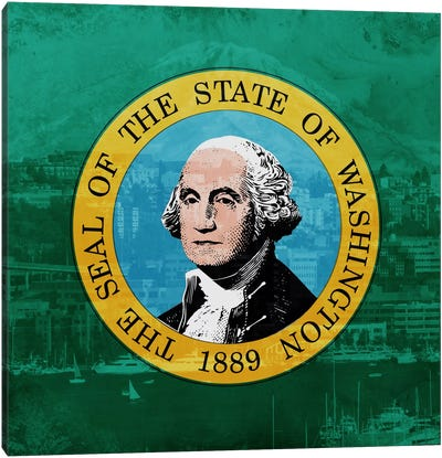 State Flag Overlay Series: Washington (Mount Olympus) Canvas Print #FLG496