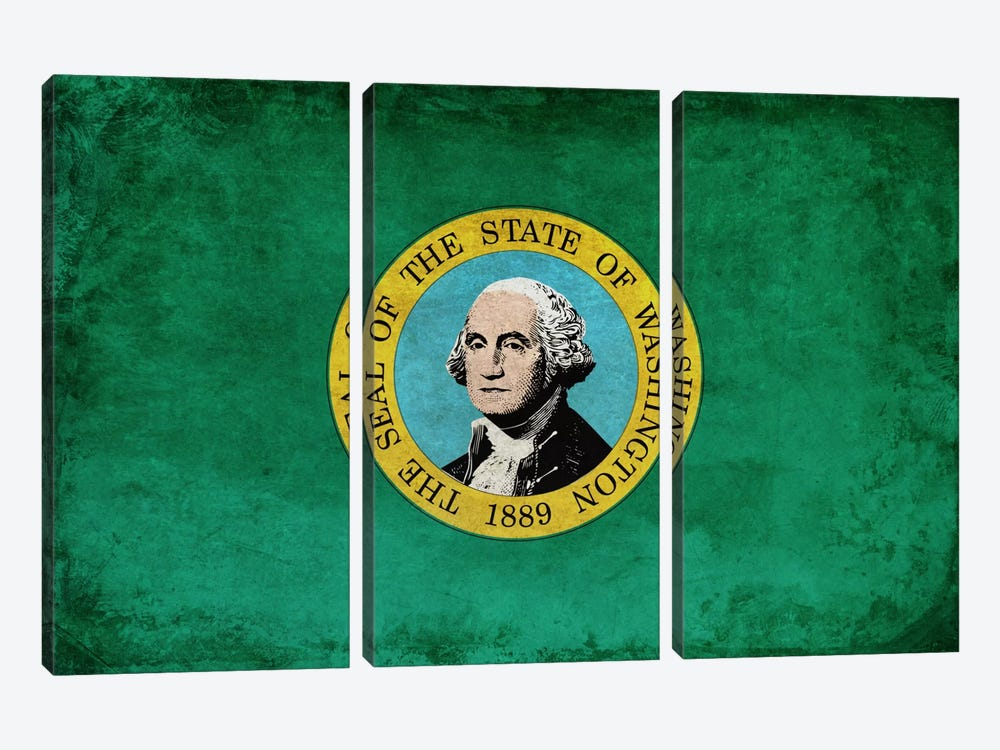 State Flag Grunge Series: Washington I by iCanvas 3-piece Canvas Artwork