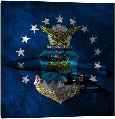 U.S. Air Force Flag (F-15 Eagle Background) Canvas Art Print
