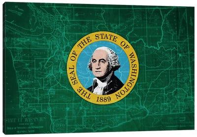 State Flag Overlay Series: Washington (Vintage Map) Canvas Print #FLG500