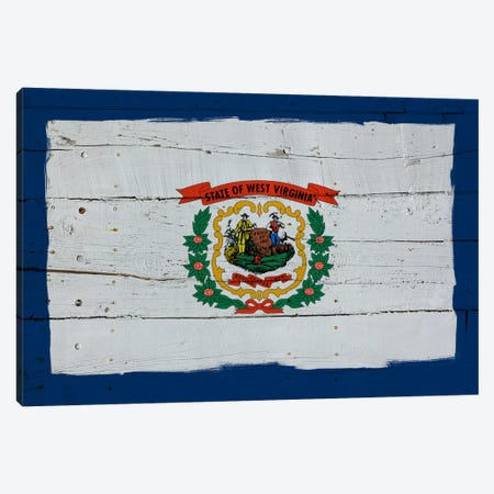 West Virginia Fresh Paint State Flag on Wood Planks Canvas Print #FLG512} by iCanvas Canvas Art