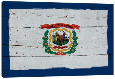 West Virginia Fresh Paint State Flag on Wood Planks Canvas Print #FLG512