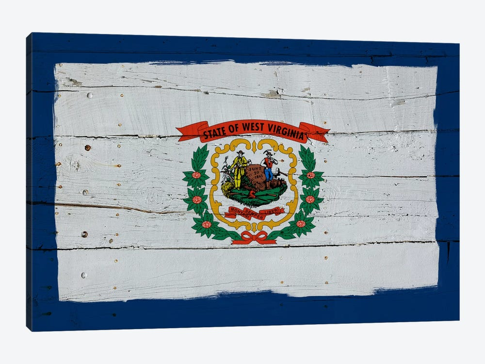 West Virginia Fresh Paint State Flag on Wood Planks by iCanvas 1-piece Canvas Print