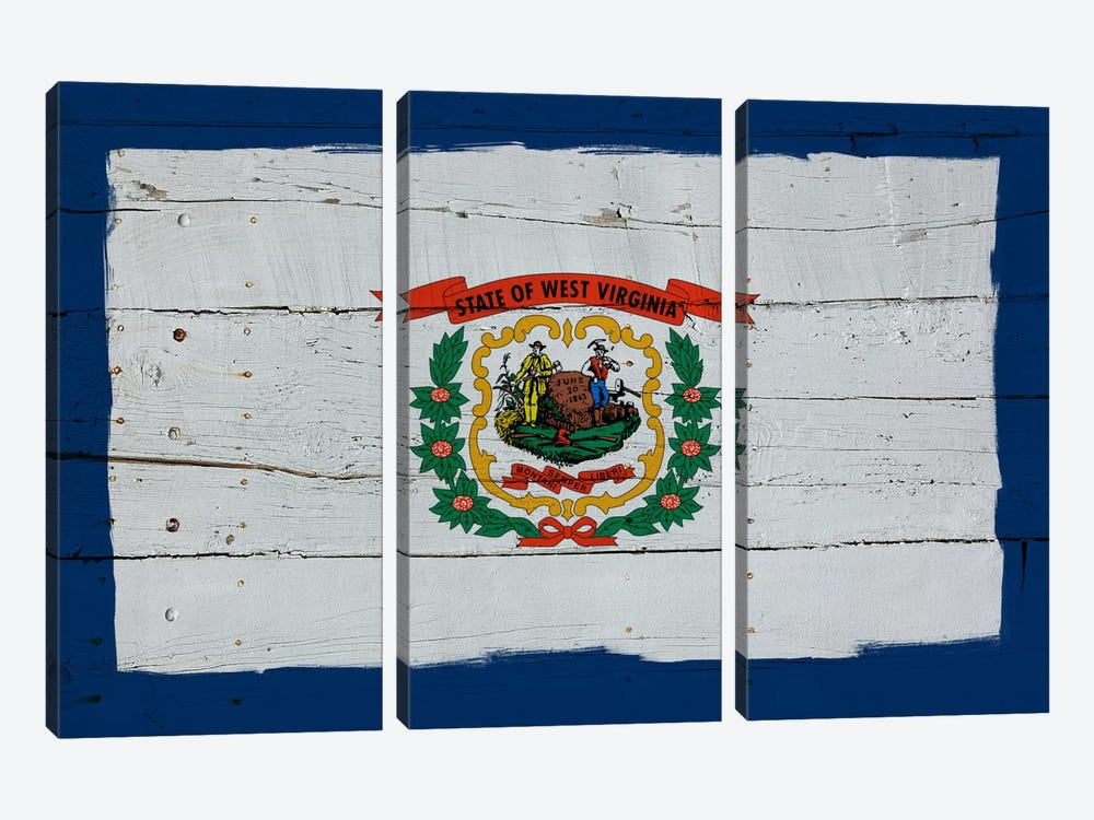 West Virginia Fresh Paint State Flag on Wood Planks by iCanvas 3-piece Canvas Print