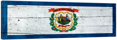 West Virginia State Flag on Wood Planks Panoramic Canvas Print #FLG513