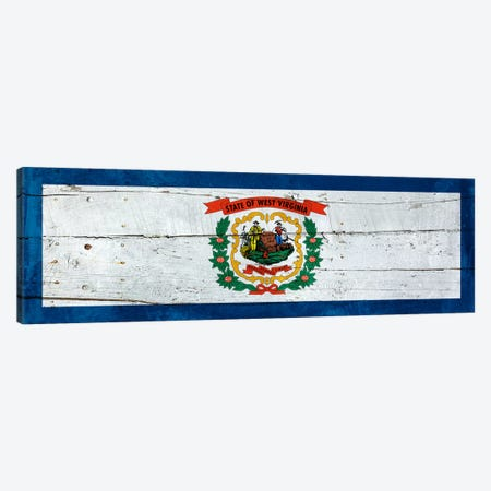 West Virginia State Flag on Wood Planks Panoramic Canvas Print #FLG513} by iCanvas Canvas Wall Art