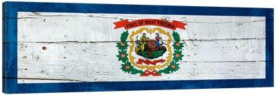 West Virginia State Flag on Wood Planks Panoramic Canvas Art Print