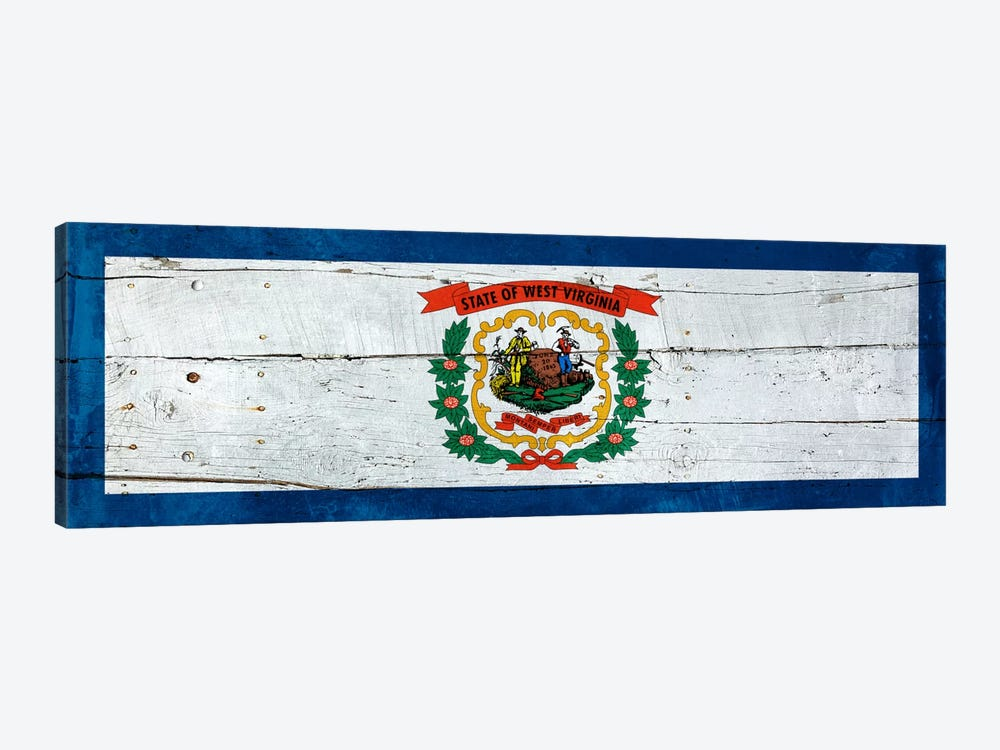 West Virginia State Flag on Wood Planks Panoramic by iCanvas 1-piece Canvas Artwork