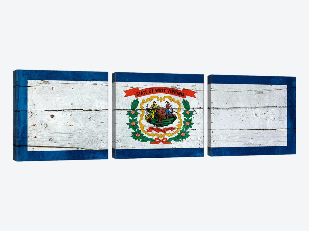West Virginia State Flag on Wood Planks Panoramic by iCanvas 3-piece Canvas Wall Art