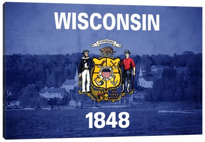 State Flag Overlay Series: Wisconsin (Door County) Canvas Print #FLG516