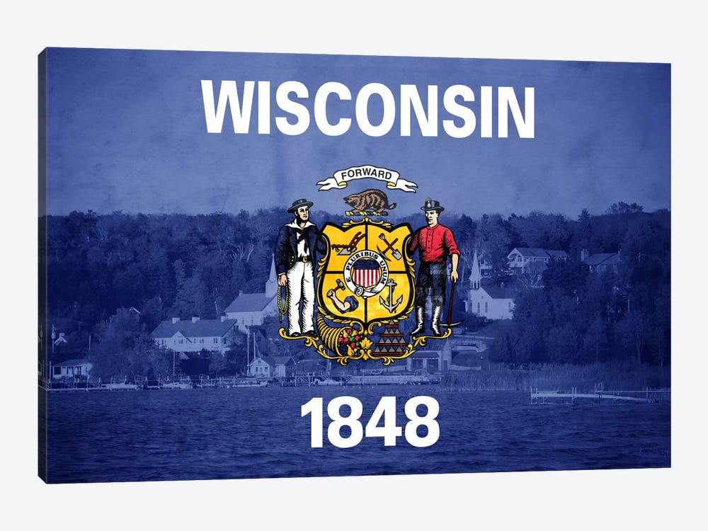 State Flag Overlay Series: Wisconsin (Door County) by iCanvas 1-piece Canvas Print
