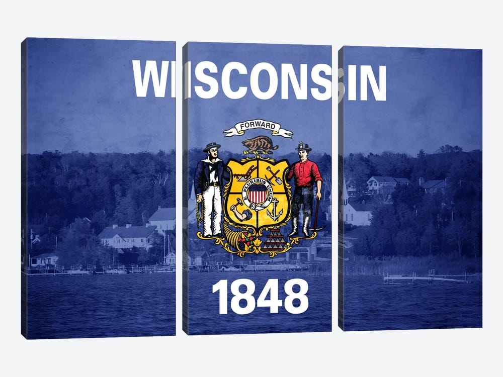 State Flag Overlay Series: Wisconsin (Door County) by iCanvas 3-piece Canvas Print