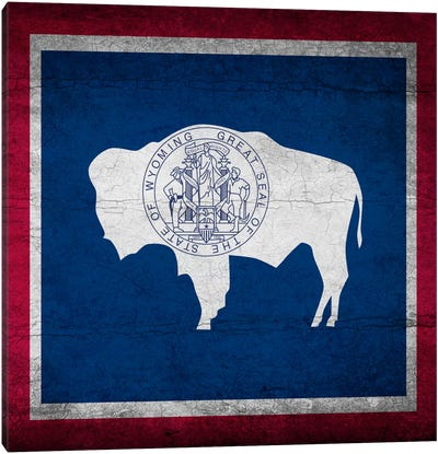Wyoming Cracked Paint State Flag Canvas Print #FLG523