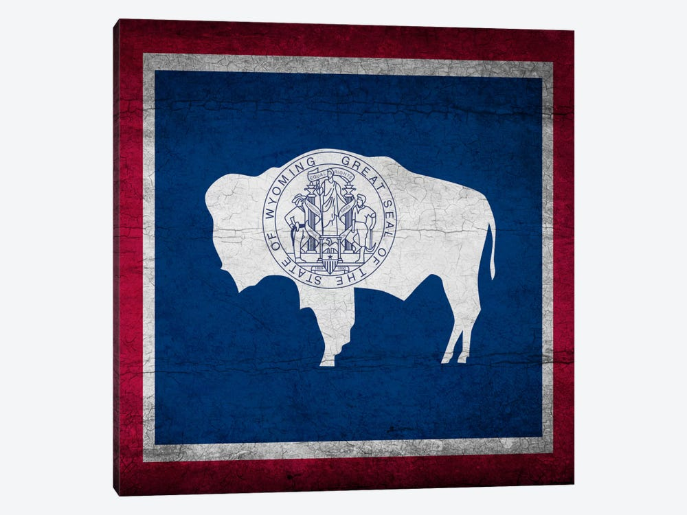 Wyoming Cracked Paint State Flag by iCanvas 1-piece Canvas Print
