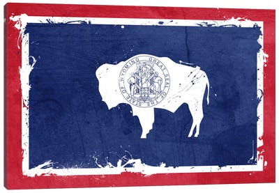 Wyoming Fresh Paint State Flag Canvas Art Print