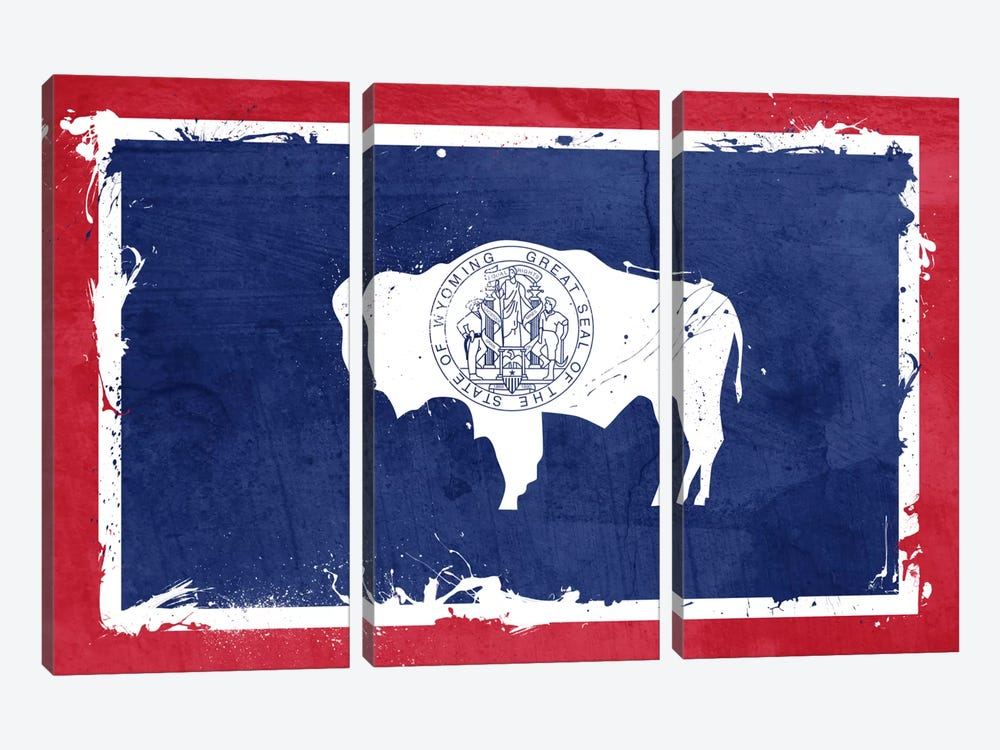 Wyoming Fresh Paint State Flag by iCanvas 3-piece Canvas Art
