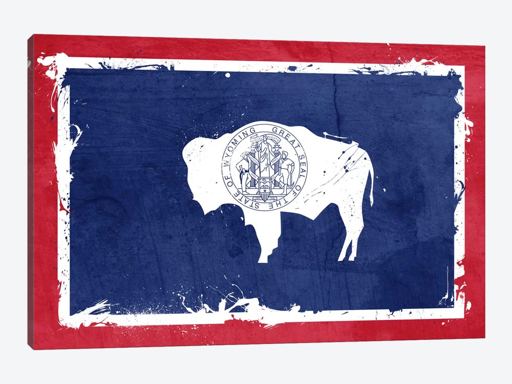 Wyoming Fresh Paint State Flag by iCanvas 1-piece Canvas Art