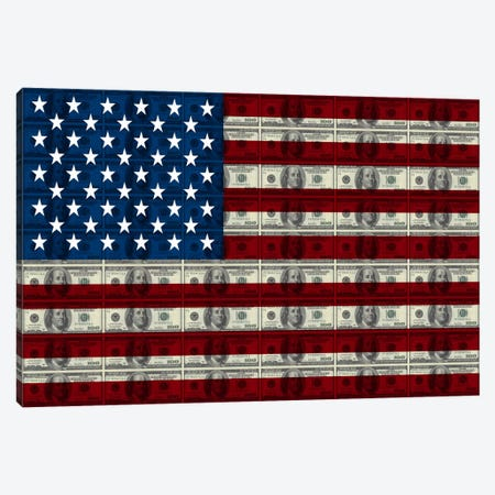 USA Flag (All About The Benjamins) Canvas Print #FLG534} by iCanvas Canvas Art Print