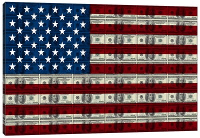 USA Flag (All About The Benjamins) Canvas Print #FLG534