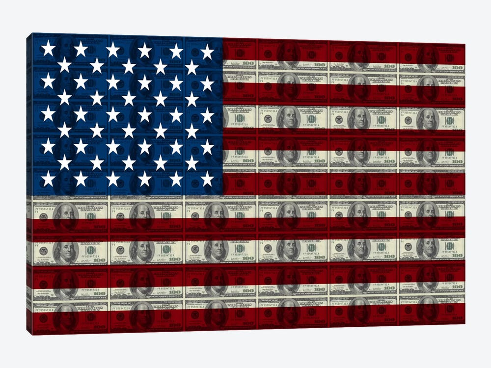 USA Flag (All About The Benjamins) by iCanvas 1-piece Art Print