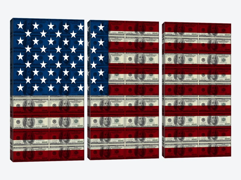 USA Flag (All About The Benjamins) by iCanvas 3-piece Canvas Art Print