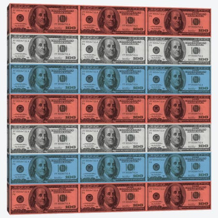 One Hundred Dollar BillUS Flag Stripes Canvas Print #FLG535} by iCanvas Canvas Art Print