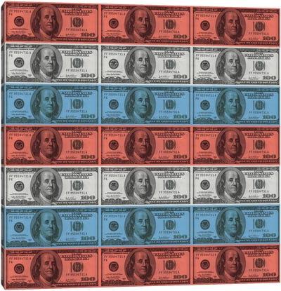 One Hundred Dollar BillUS Flag Stripes Canvas Print #FLG535