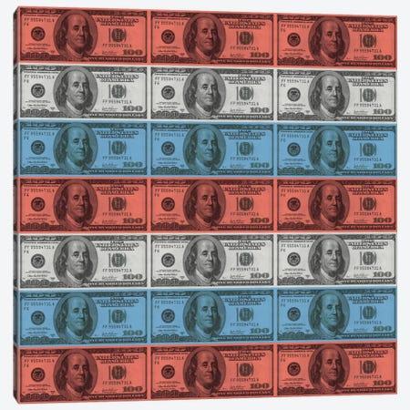 One Hundred Dollar BillUS Flag Stripes Canvas Print #FLG535} by iCanvas Canvas Art Print