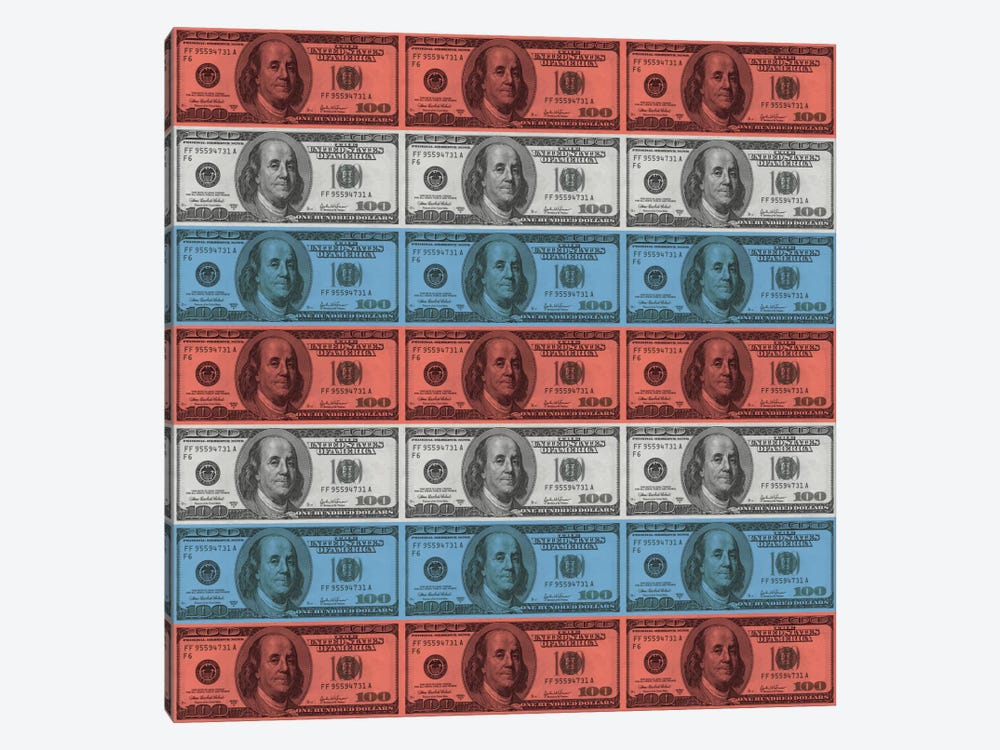 One Hundred Dollar BillUS Flag Stripes by iCanvas 1-piece Canvas Art