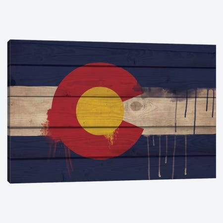 Colorado Paint Drip State Flag on Wood Planks Canvas Print #FLG53} by iCanvas Canvas Print