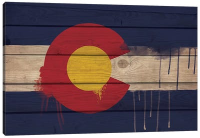 Colorado Paint Drip State Flag on Wood Planks Canvas Print #FLG53
