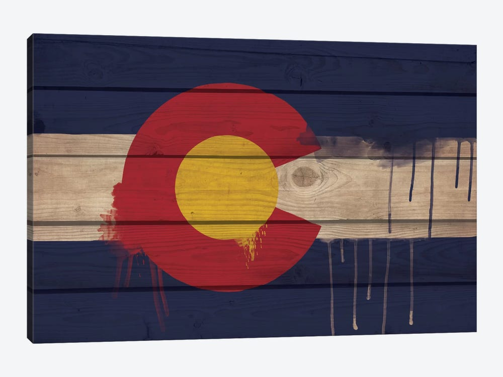 Colorado Paint Drip State Flag on Wood Planks by iCanvas 1-piece Canvas Artwork