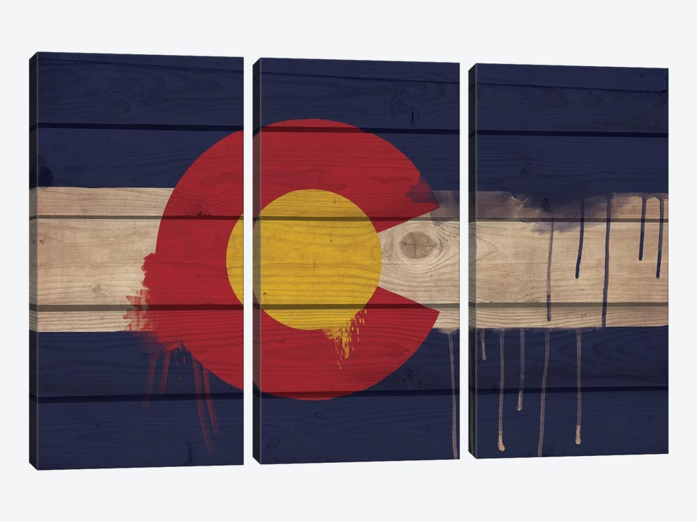 Colorado Paint Drip State Flag on Wood Planks by iCanvas 3-piece Canvas Wall Art
