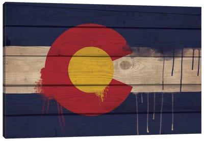 Colorado Paint Drip State Flag on Wood Planks Canvas Art Print