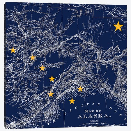 Alaska (Vintage Map) I Canvas Print #FLG541} by iCanvas Canvas Print