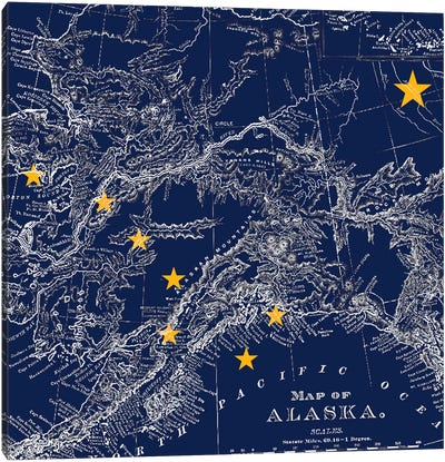 State Flag Overlay Series: Alaska (Vintage Map) I Canvas Art Print
