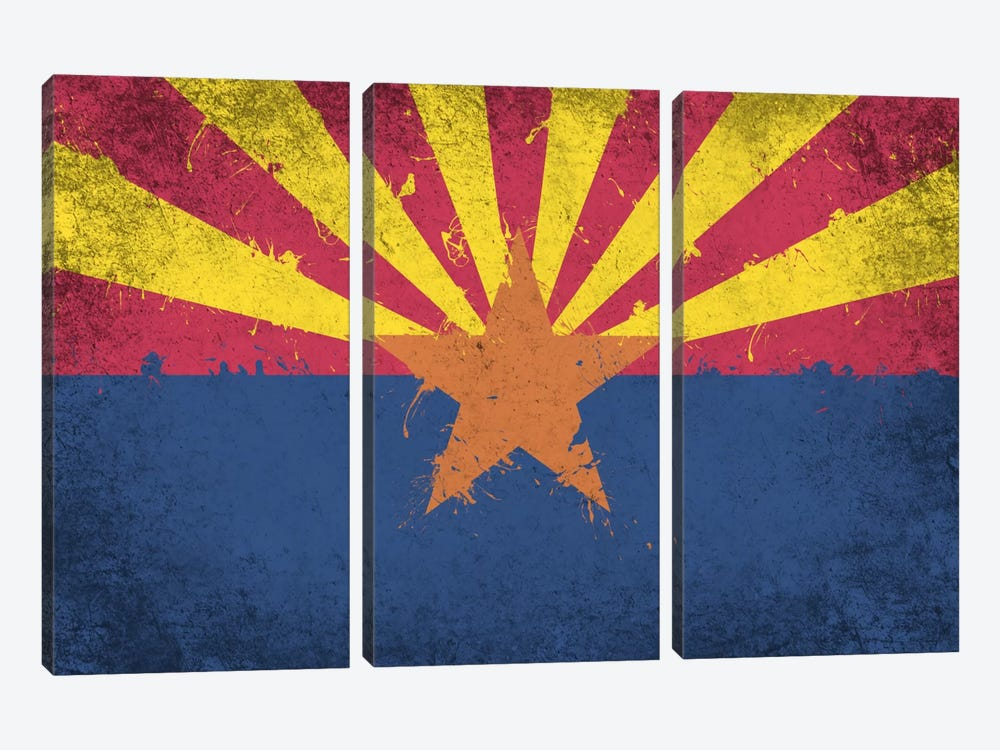 Arizona Fresh Paint State Flag by iCanvas 3-piece Art Print