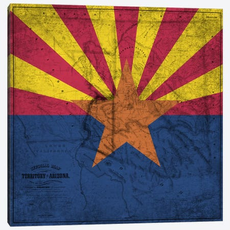 State Flag Overlay Series: Arizona (Vintage Map) Canvas Print #FLG547} by iCanvas Canvas Artwork
