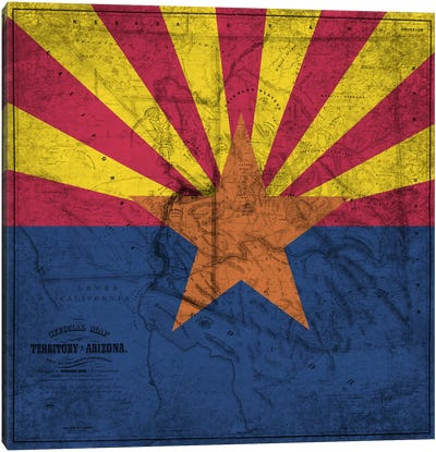 State Flag Overlay Series: Arizona (Vintage Map) Canvas Print #FLG547