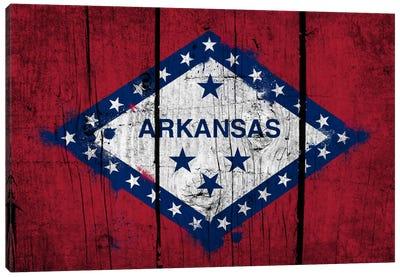 Arkansas FlagGrunge Wood Boards Painted Canvas Print #FLG551