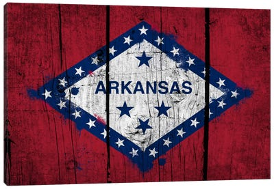 Arkansas FlagGrunge Wood Boards Painted Canvas Art Print