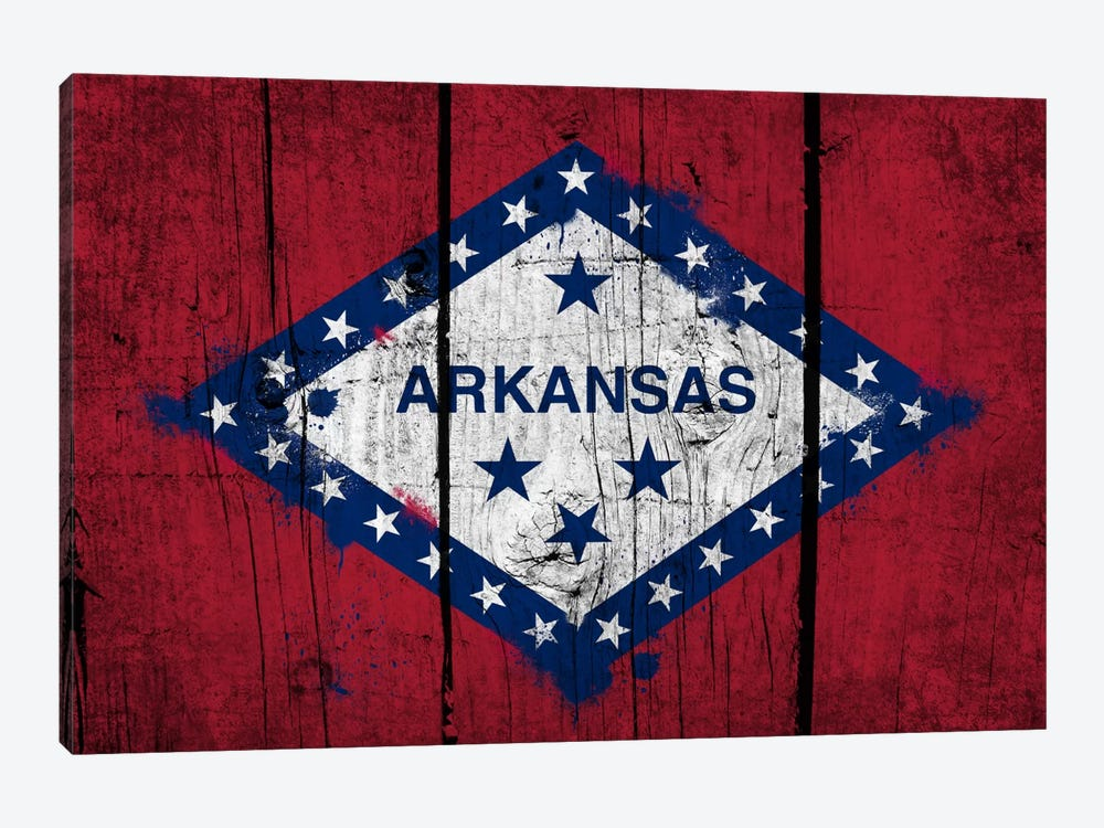 Arkansas FlagGrunge Wood Boards Painted by iCanvas 1-piece Canvas Art