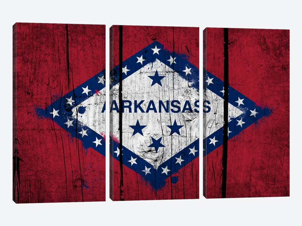 Arkansas FlagGrunge Wood Boards Painted by iCanvas 3-piece Canvas Artwork