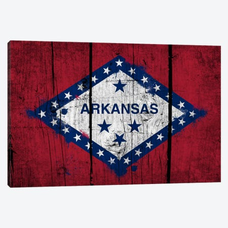 Arkansas FlagGrunge Wood Boards Painted Canvas Print #FLG551} by iCanvas Canvas Artwork