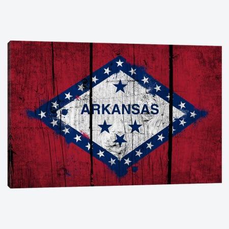 Arkansas FlagGrunge Wood Boards Painted Canvas Print #FLG551} by iCanvas Canvas Artwork