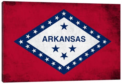 State Flag Grunge Series: Arkansas Canvas Art Print