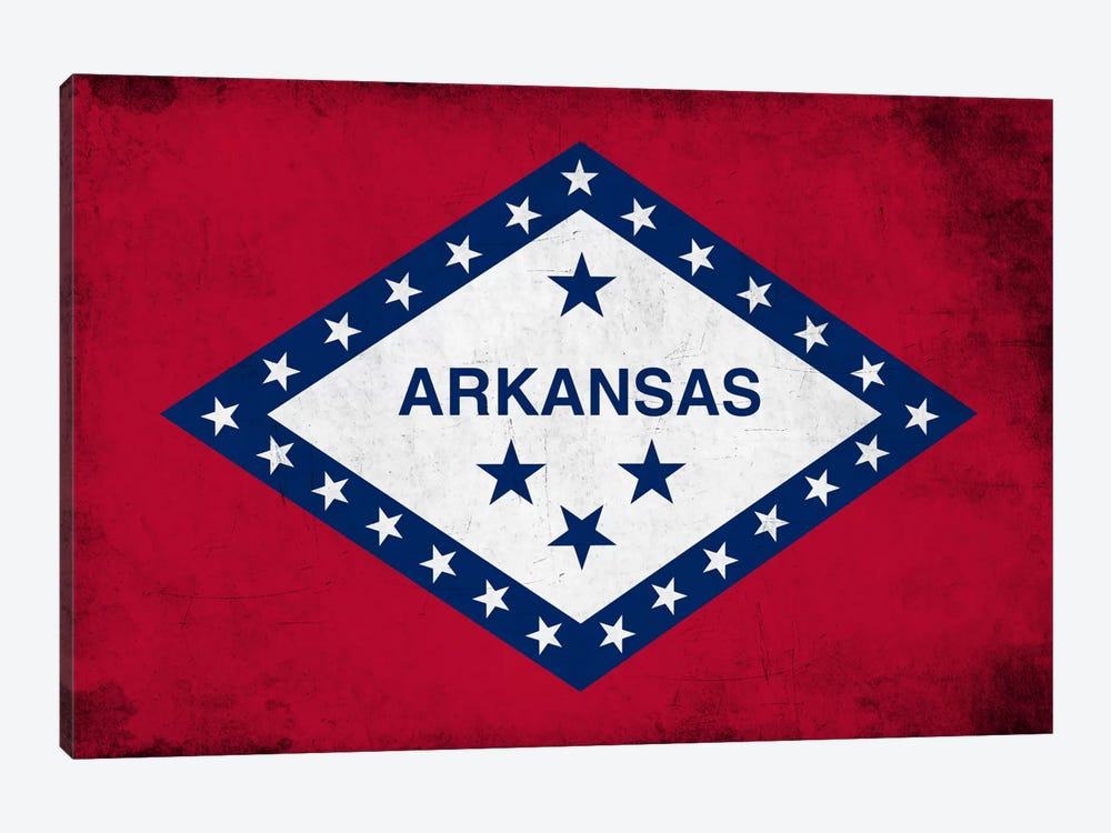 State Flag Grunge Series: Arkansas 1-piece Art Print